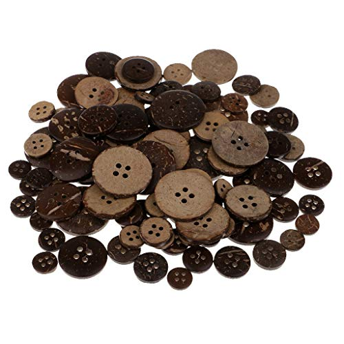 (100 Pieces Natural Brown Coconut Buttons 4 Holes for Sewing DIY Crafts)