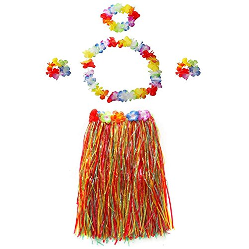 TraderPlus Elastic Hawaiian Hula Dancer Grass Luau Skirt with Flower Costume Set for Kids Adult (23.6-inch for Adult, (Luau Costumes For Women)