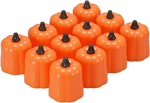 Halloween Pumpkin Tea Lights, PChero 12pcs Battery Operated Flickering Flameless LED Tealight Candles for Jack-O-Lantern Thanksgiving Centerpieces Fall Wedding Party Table Fireplace Decor
