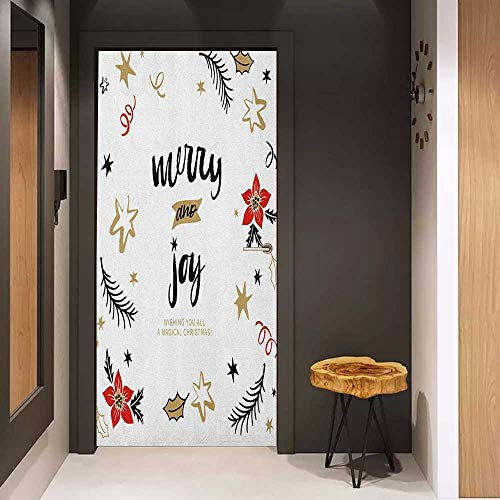 - Onefzc Self-Adhesive Wall Murals Joy Christmas Themed Flowers Swirls Stars Celebratory Arrangement Merry Illustration Sticker Removable Door Decal W23.6 x H78.7 Camel Red Black