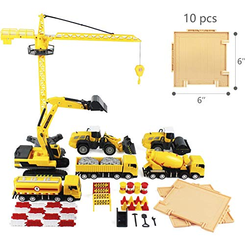 iPlay, iLearn Construction Site Vehicles Toy Set, Engineering Playset, Tractor, Digger, Crane, Dump Trucks, Excavator, Cement, Steamroller for 3, 4, 5 Year Old Toddlers, Boys, Girls, Kids & Children