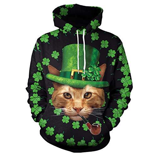 F style Unisex 3D Digital Print Cat Clover Pullover Hoodies Pockets Sweatshirt