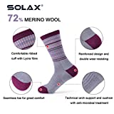 SOLAX Womens Merino Wool Sport Socks Hiking Sock 3 Pairs a Pack(Size for 7-10.5)