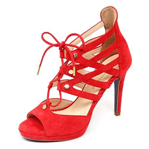 sandalo D2910 woman Rosso red donna shoe JEANS TRUSSARDI dfvBfq