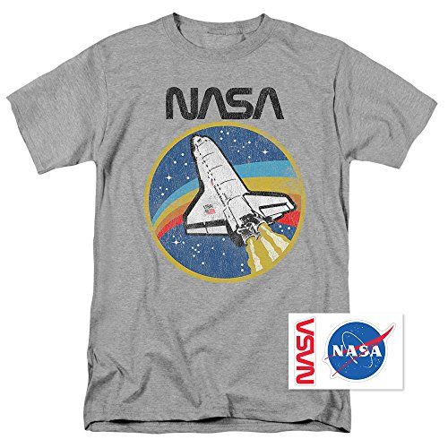 Popfunk NASA Retro Vintage Space Shuttle T Shirt & Exclusive Stickers (XXX-Large)