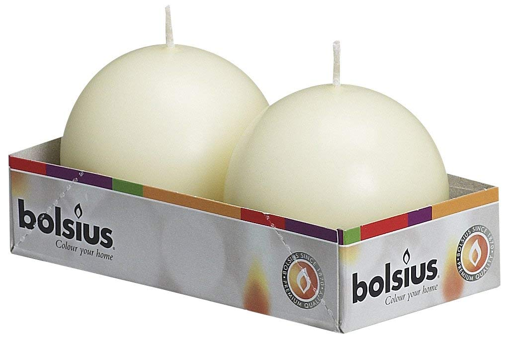 Perfect for Wedding Candles 2.75 inch Dripless Candle BOLSIUS Tray of 2 Ivory Ball Candles 16 Long Burning Hours Candle Set Parties and Special Occasions