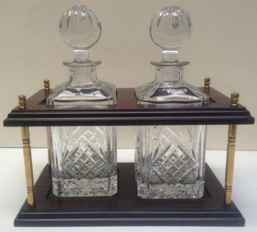 Trafalgar Twin Crystal Decanter Stand with Hand Cut 24% Lead Crystal Decanters Solid Brass Fittings by DGS Country Crafts