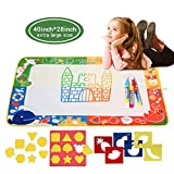 citymama Drawing Mat Doodle Magic mat water Drawing& writingMatpainting board 4 Colors with 3Magic DrawingPens and 15 MoldsKids Educational Toy Mat GiftforChildren XL Size 40'' x 28''