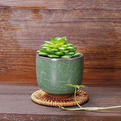 Ice Cracking Dark Green Semicircular Shape Geometric Flowerpot Cactus Potted Flowerpot, Flower Pot, Pottery Bonsai Potted, Home Office Decoration Micro Landscape ()