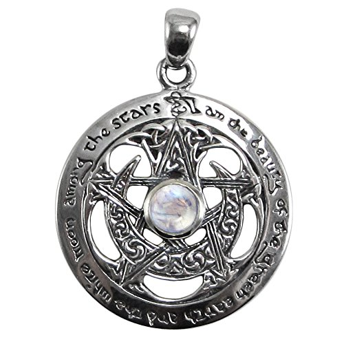 - Sterling Silver Cut Out Moon Pentacle Pendant with Natural Rainbow Moonstone; 1 Inch Diameter