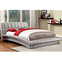 Furniture of America Corina Contemporary Curved Leatherette Platform Bed Grey King