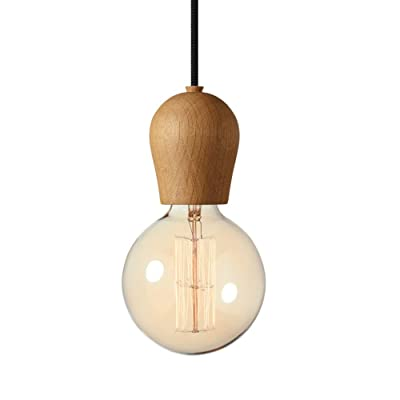 DD Lustre, Nordic Creative Retro Simple bois Restaurant lights / bedroom / Bar / Single head 18 * 120cm A++