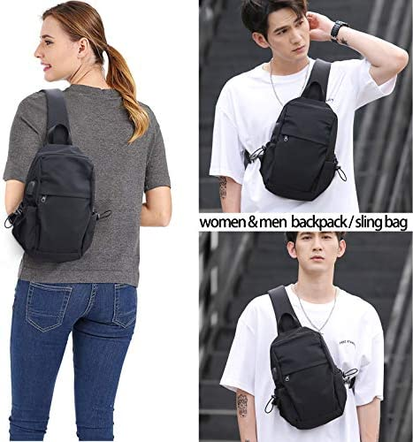 Small Black Sling Crossbody Backpack Shoulder Bag for Men Women, Lightweight One Strap Backpack Sling Bag Backpack for Hiking Walking Biking Travel Cycling USB Charger Port-Nylon