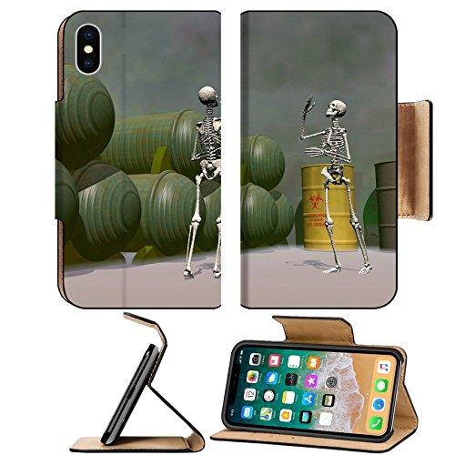 Liili Premium Apple iPhone X Flip Pu Leather Wallet Case IMAGE ID: 3679920 Halloween 3D fun and creepy skeletons (Cuisine D'halloween)