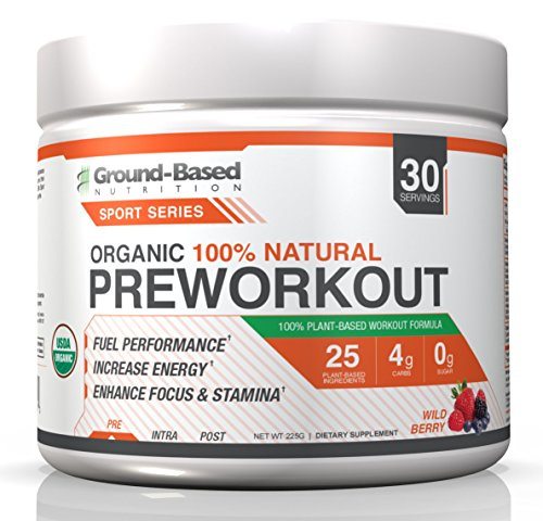 Ground-Based Nutrition Certified Organic Preworkout  Zero Carb Plant-Based Formula, Non-GMO, Raw Food, Gluten-Free, Improves Energy, Strength, Endurance, and Focus - Vegan, Sugar Free, 30 servings