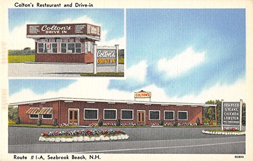 Seabrook Beach New Hampshire outside Coltons Restaurant antique pc -