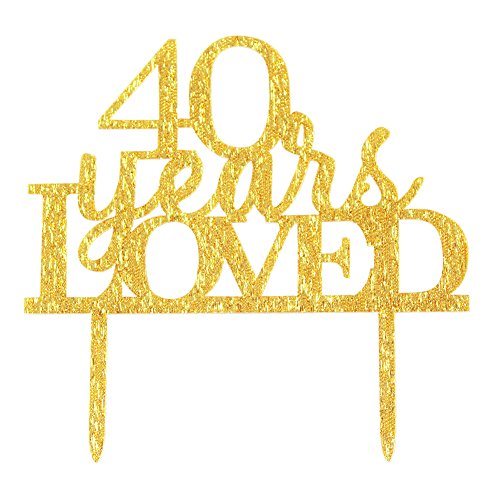 (Glitter Gold Acrylic 40 Years Loved Cake Topper Decoration, 40th Birthday Anniversary Party Cupcake Topper Decor (40, gold))