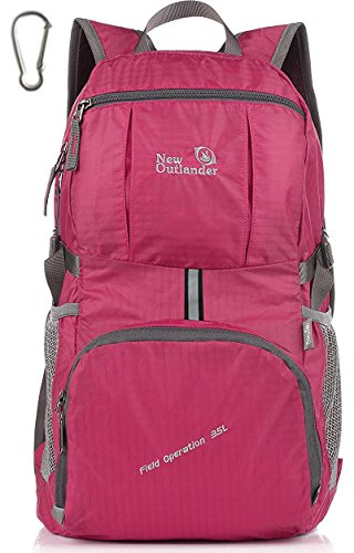 Outlander Packable Lightweight Travel Hiking Backpack Daypack (New Fuschia)