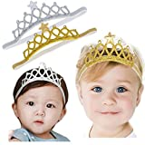 Baby Girl Super Elastic Headband Crown Toddler Hair Band Toddler Soft Headwrap Set Children Hair Accessories (14.2' head girth, gold/sliver-2pcs)