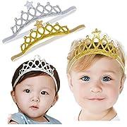 DANMY Baby Girl Rhinestone Crown Headbands Toddler Princess Headband Hair Accessories (2PCS)