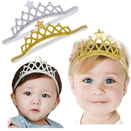 (DANMY Baby Girl Crown Headbands Toddler Princess Headband Hair Accessories (gold and silver (2pcs)))