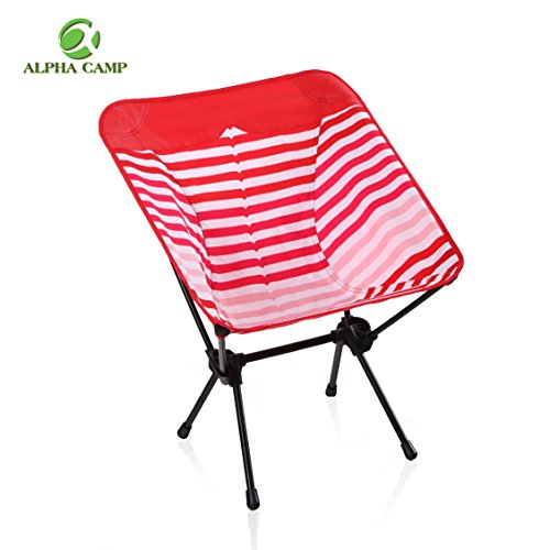 ALPHA CAMP Lightweight Portable Camping Chair - Ultralight Folding Chair with Heavy Duty 350 LBS - Red White