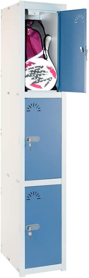 1800 x 280 x 520 mm Desmontado Taquilla Met/álica 3 Puertas 1 M/ódulo Med