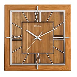 Bulova C4645 Studio Clock, Natural Lacquer Finish