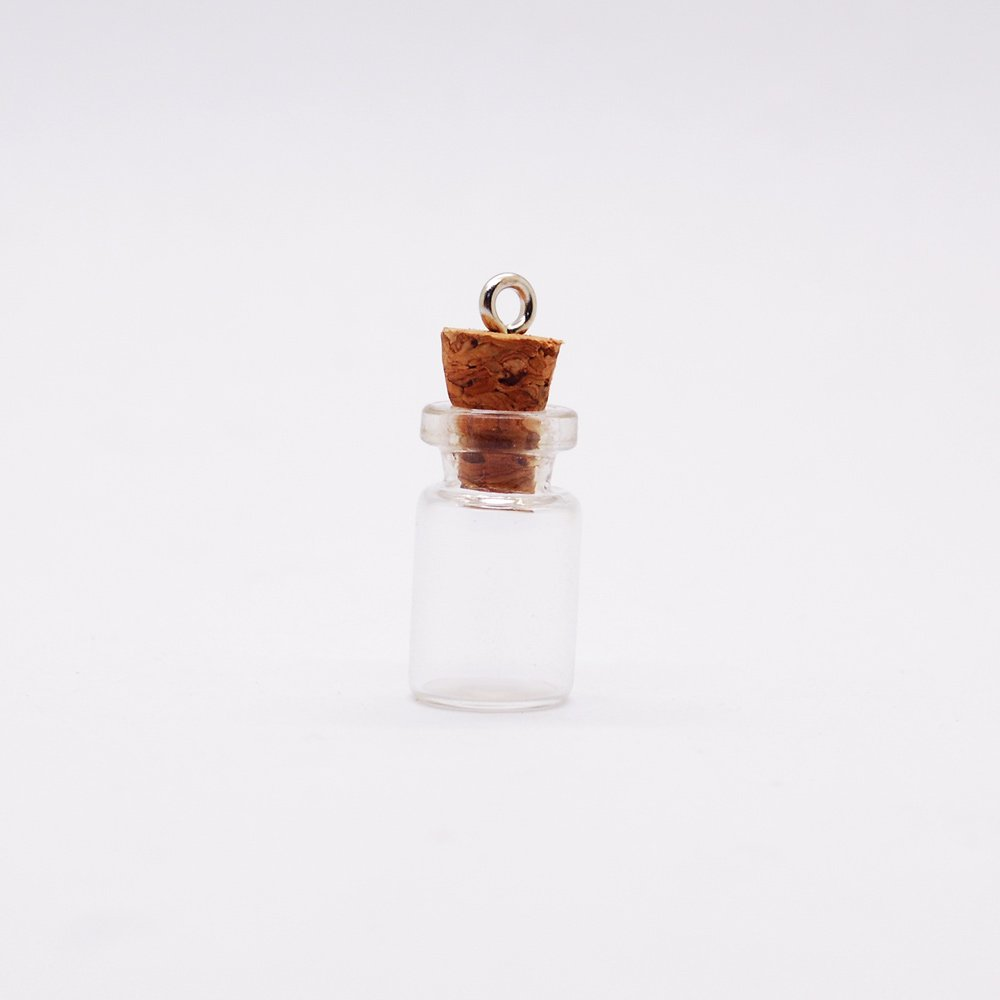 20 3/4-Inch Small Glass Bottles Message Treasure Charm Pendant DIY Kit For Necklace Weddings Wish Jewelry Mini Glass Bottles with Corks DOWONSOL