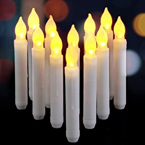 AMAGIC 6.5 Inch Flameless LED Taper Candles Lights, Battery Operated Harry Potter Floating Candles, Electric Tapered Candles for Christmas, Party, Wedding Decorations, Set of 12