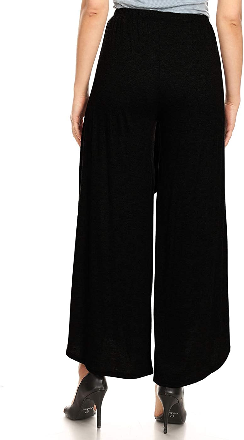 LINGMIN Womens Layered Wide Leg Slit Pants Flowy Cropped High Waist Palazzo Yoga Pants