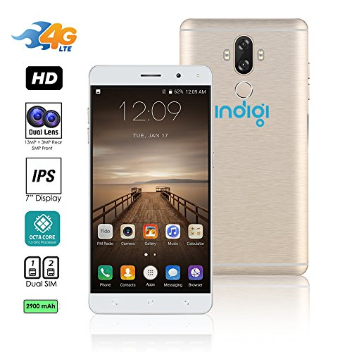 2017 6 Inch Gsm Unlocked Android 7 0 Nougat 4G Lte Smartphone By Indigi  Octa Core   Dualsim   Fingerprint Scanner   13Mp Camera  Brushed Aluminum  Gold