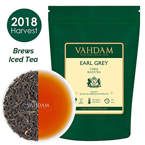 VAHDAM, Imperial Earl Grey Tea Leaves (200+ Cups) - 100% Natural Bergamot Oil blended with Garden Fresh Black Tea, Floral & Citrusy, 16-ounce Bag, Garden Fresh Earl Grey Tea Loose Leaf -