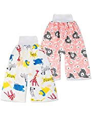 2 Packs Cotton Training Pants Waterproof Cloth Diaper Skirts for Baby Boy and Girl Night Time Sleeping Bed Clothes Potty Training Skirts