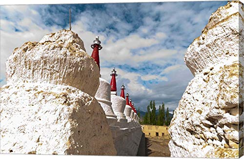 Chortens at The Thiksey Monastery, Leh, Ladakh, India by Ellen Clark/Danita Delimont Canvas Art Wall Picture, Gallery Wrap, 29 x 19 inches