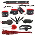 REKINK Red & Black 12/pc Cosplay Choker Collar and Hand and Ankle Cuffs Emo Gothic Costume Set