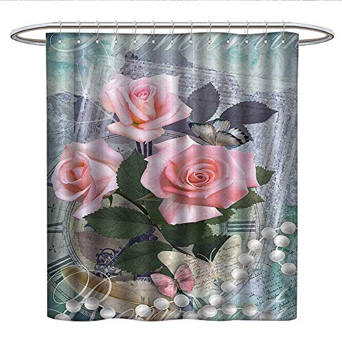 Anniutwo Pearls Decorationkids Shower curtainClassic Rose and Pearls Romantic Dramatic Love Symbols Together Grace Bouquet ArtworkRound Shower Curtain rodPink Grey ()