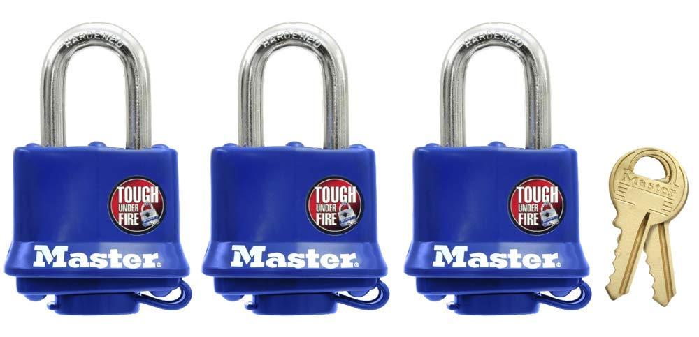 45/mm Master Lock Set mit 3 Hochsicherheitsschl/össern f/ür den Au/ßenbereich mit langem B/ügel und Schl/üsselschloss 47/mm