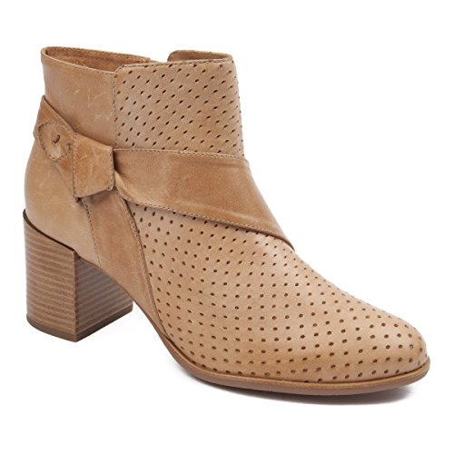 Johnston & Murphy Women's Felice Perf Bootie Tan Waxy Leather -