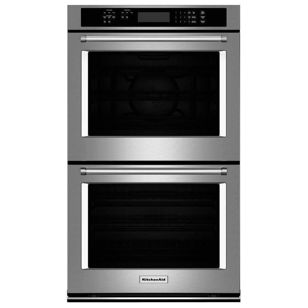 "KITCHENAID KODE300ESS 30"" Double Electric Wall Oven with 10.0 cu. ft. Combined Oven Capacity, Even-Heat True Convection, Glass Touch Display, Temperature Probe and Self Cleaning Cycle (Renewed)"