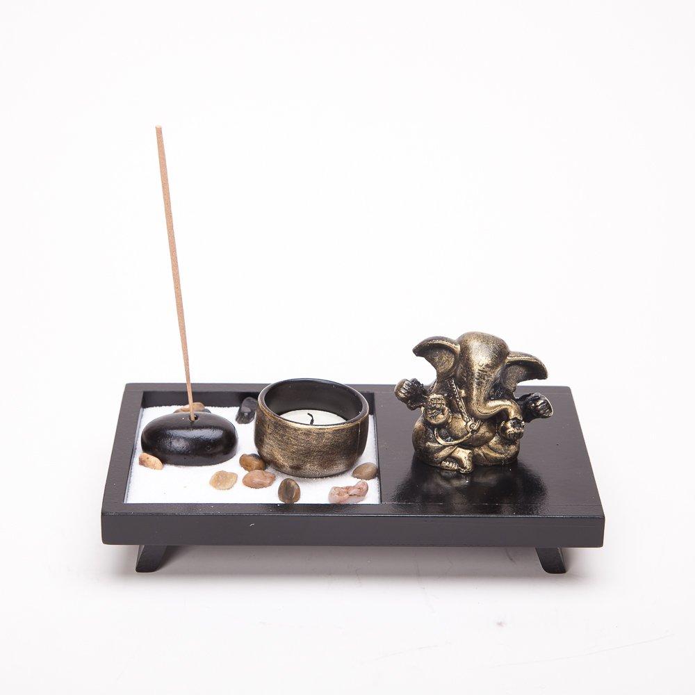 Asian Japanese Feng Shui Sand Zen Garden Elephant Incense & Candle HY159