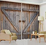 LB Rustic Barn Door Window Curtains for Living Room Bedroom,Vintage Wooden Farmhouse Door Decor Teen Kids Room Darkening Blackout Curtains Drapes 2 Panels,42 x 63 Inches