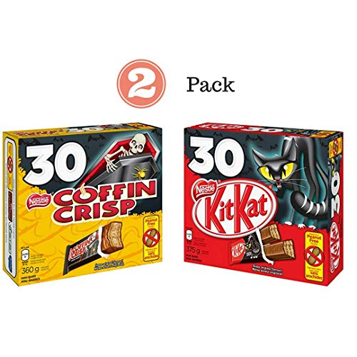 Nestle Canada Chocolate Halloween 2 Pack - Coffin Crisp Coffee Crisp 30x12g & Nestle Kit Kat 30x12g - Snack Size Bars ()