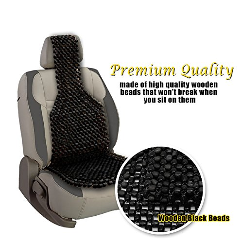 Good VaygWay Black Wooden Beaded Cushion Car Seat Cover