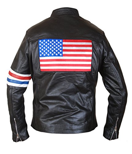 Wyatt Earp Costumes (F&H Men's US Flag Easy Rider Peter Fonda Genuine Leather Jacket 4XL Black)