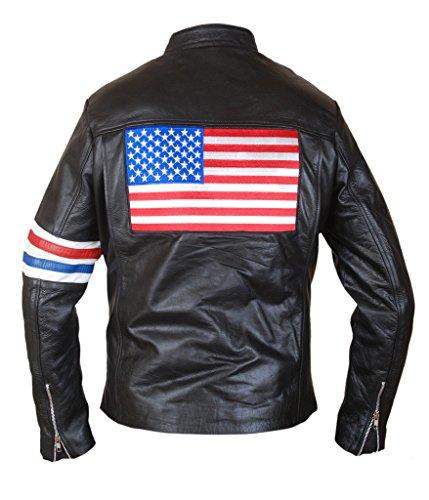 F&H Men's US Flag Easy Rider Peter Fonda Jacket L Black - Wyatt Earp Fancy Dress Costumes