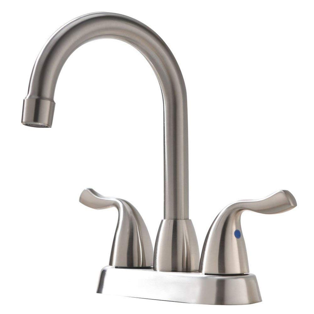 VAPSINT Commercial Two Handle Stainless Steel Brushed Nickel Bathroom Faucet,Lavatory Vanity Basin Faucet Bathroom Sink Faucets Without Pop Up Drain