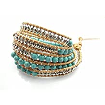 M&B Women's Authentic Turquoise Stone and Silver Bead Wrap Leather Bracelet or Accessory