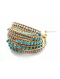 M&B Women's Authentic Turquoise Stone and Silver Bead Wrap Leather Bracelet or Accessory (Authentic Turquoise)