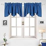 #7: Deconovo Rod Pocket Window Blackout Valance Curtain for Small Windows Scalloped Valance 42x18 Inch Dark Blue 2 PCS